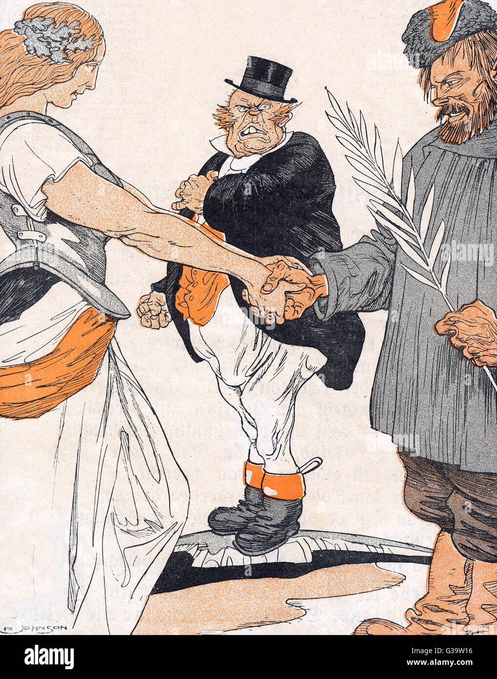 John Bull is put out by Brest- Litovsk - Russia's Peace  treaty with Germany ending her  involvement in World - Stock Image