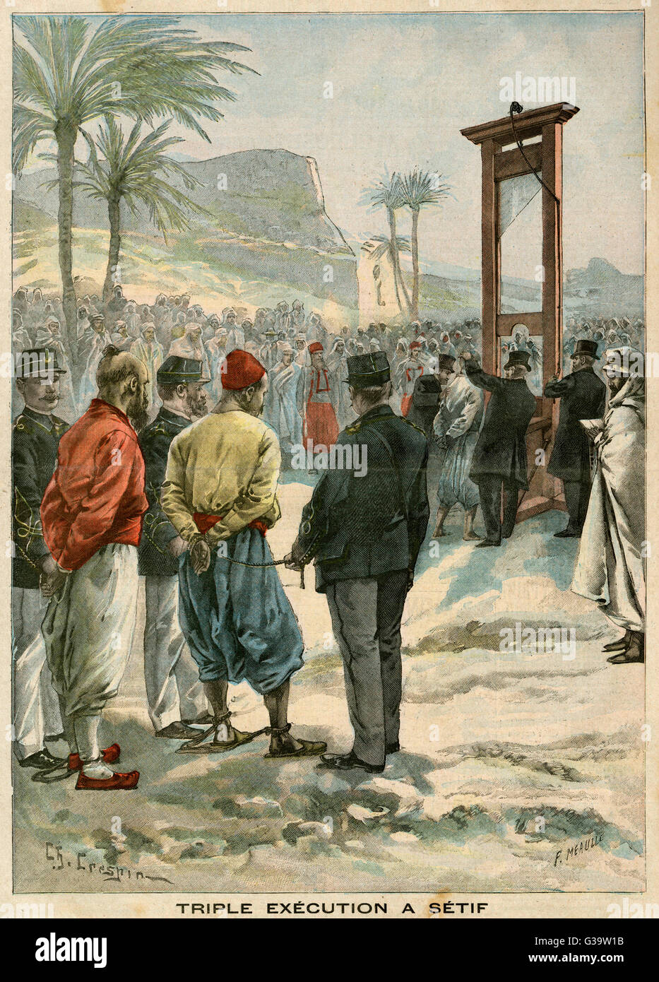 The French guillotine three  rebels at Setif         Date: 1900 - Stock Image