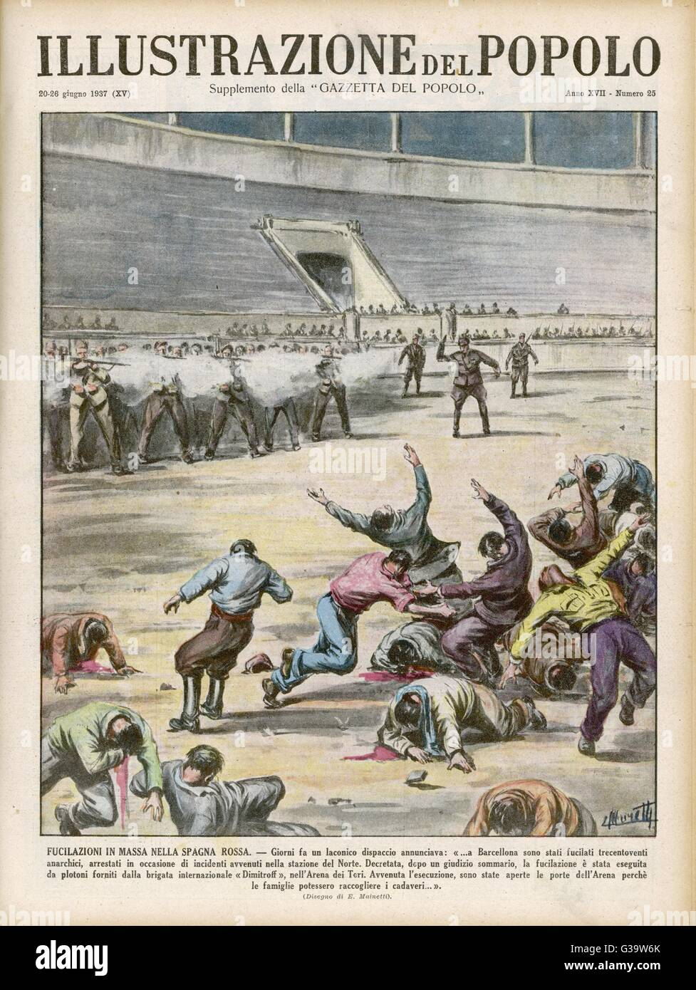 Communists execute 320  anarchists in a Barcelona  bullring        Date: 1937 - Stock Image
