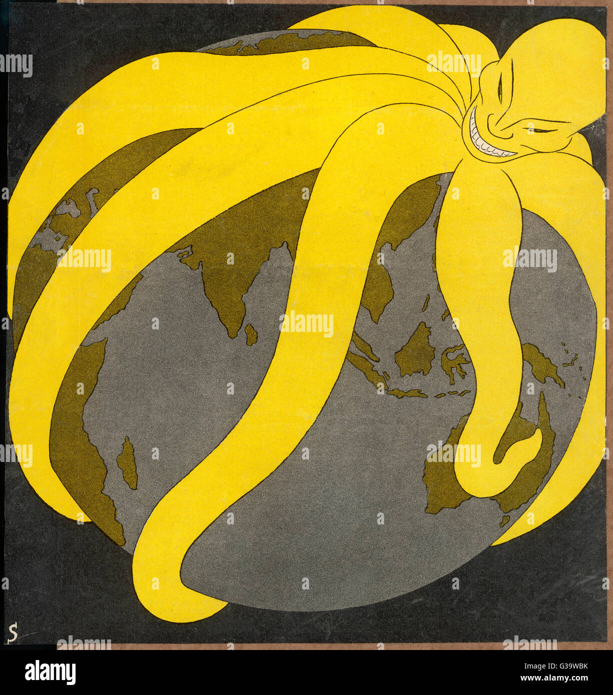 The Japanese 'Yellow Peril' -  a paranoid comment on Japan's  expansionism.        Date: 1935 - Stock Image