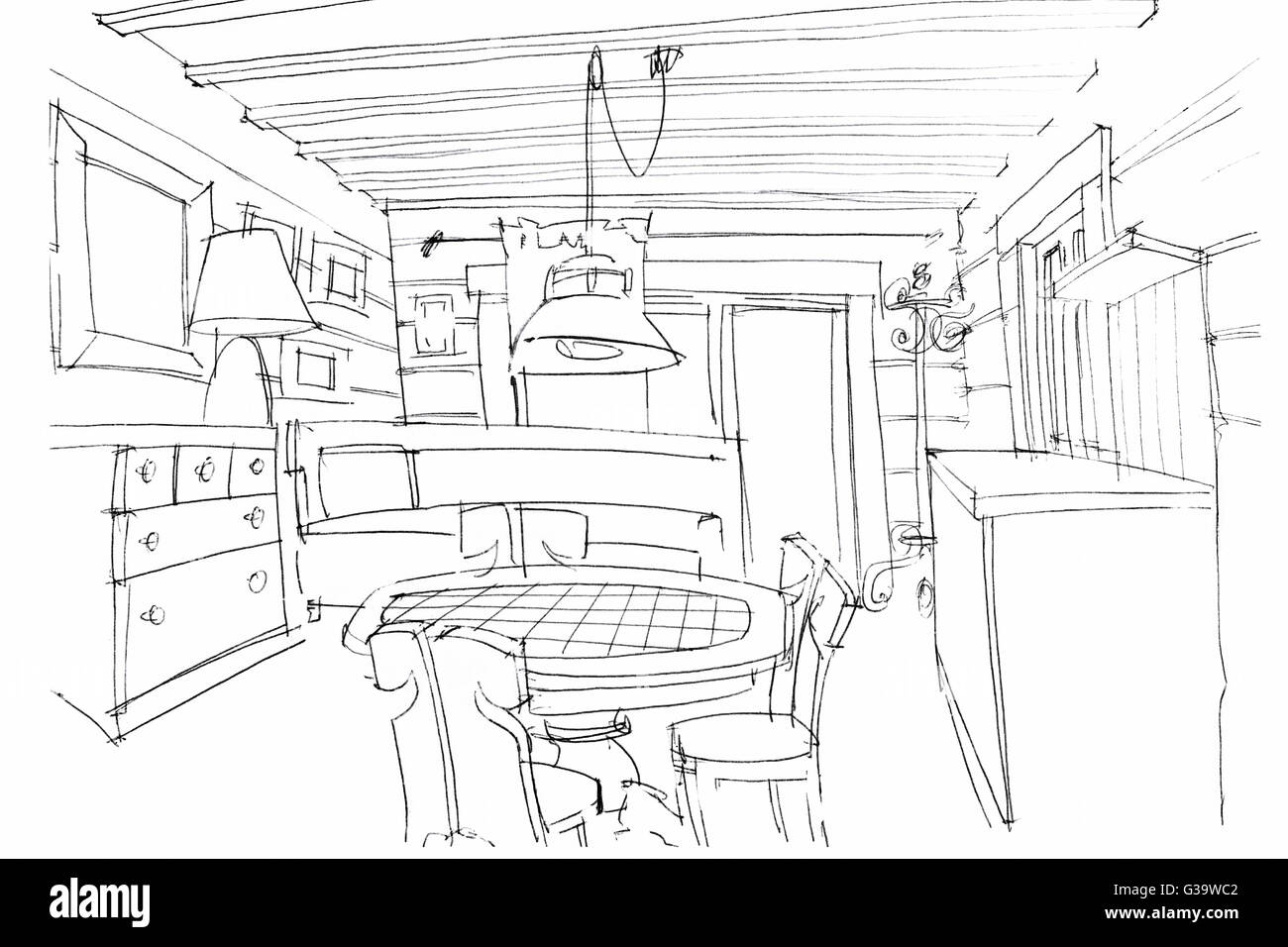 Designers hand drawing interior perspective of a kitchen in black and white