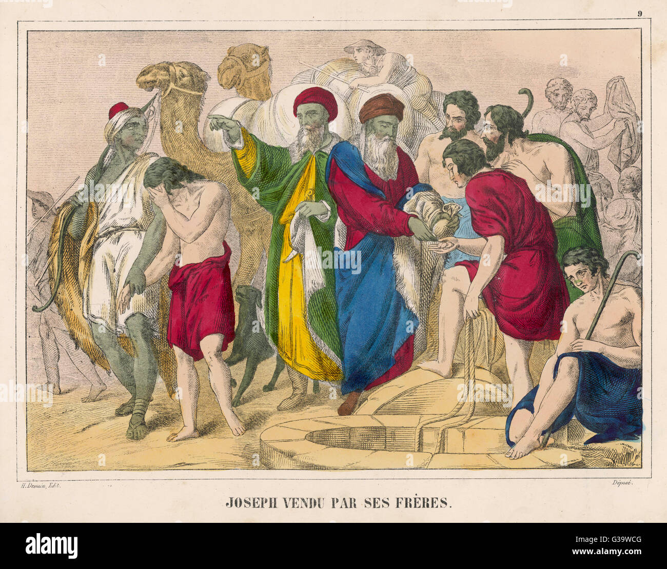 Joseph is sold by his brothers  to some merchants - an  unkindness which they will  later come to regret... - Stock Image