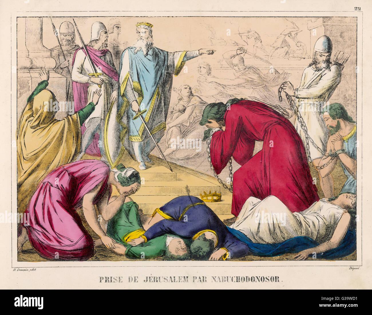 Nebuchadnezzar II, ruler of  Babylon, sacks Jerusalem and  takes its citizens prisoner  to Babylon Stock Photo