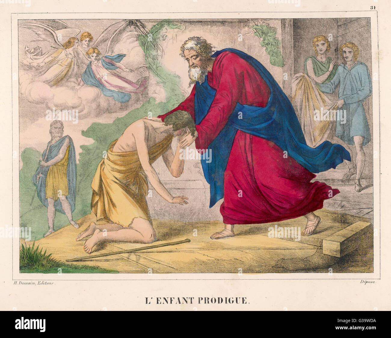 The parable of 'The Prodigal  Son', welcomed home by his  father - Stock Image