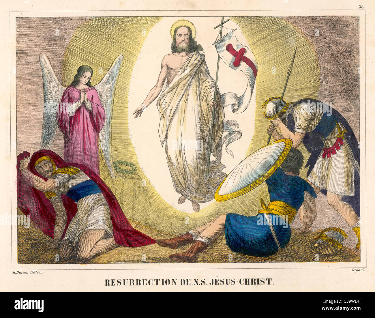 The Roman soldiers are amazed  when the man they thought they  had crucified rises unharmed  from his tomb - Stock Image