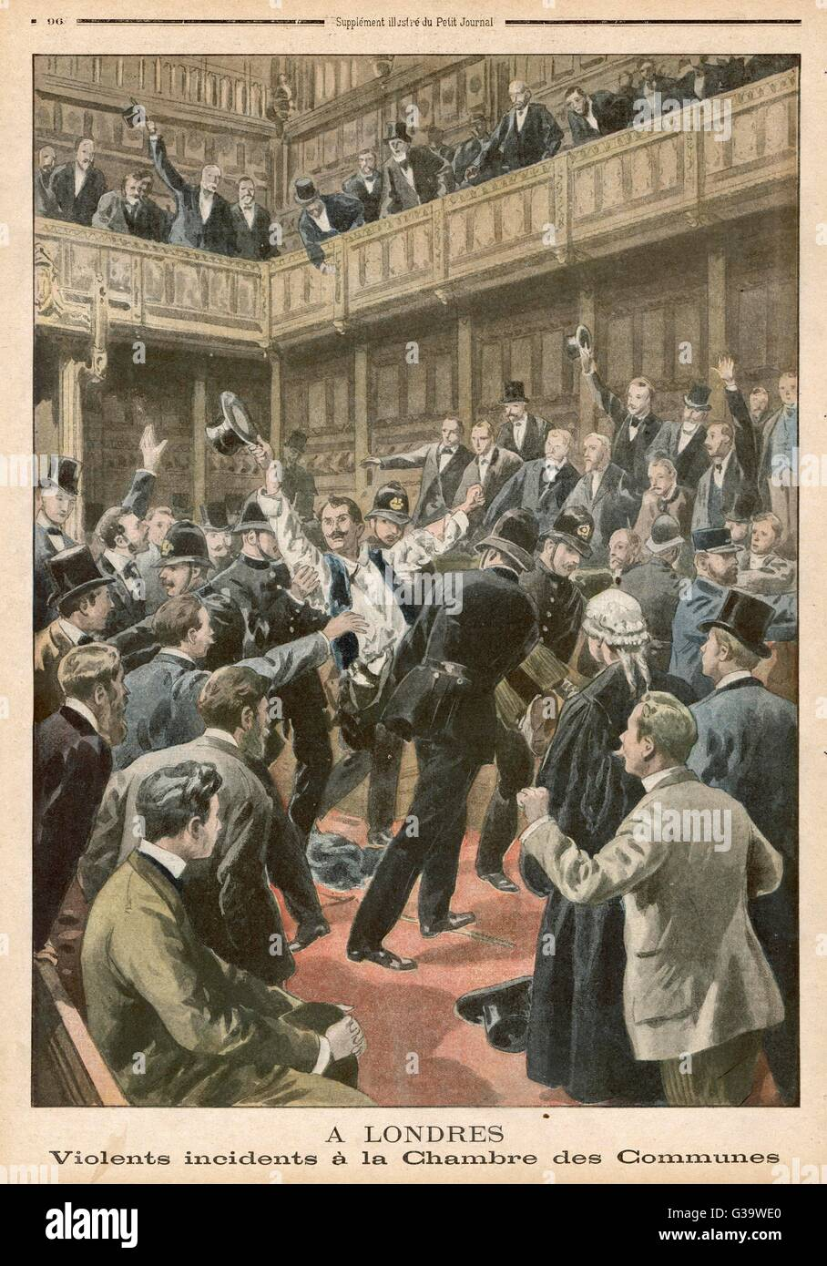 Irish MPs create a disturbance  in the House of Commons in  London.        Date: 1901 - Stock Image
