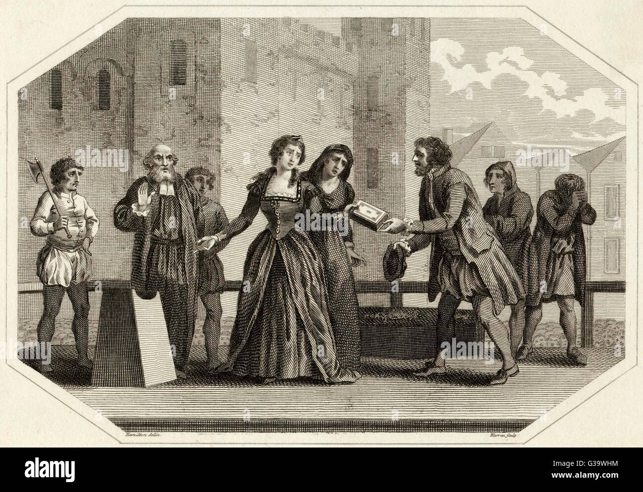 Lady Jane Grey, Queen for nine  days is beheaded at the Tower  of London on charges of  treason.  She presents her - Stock Image