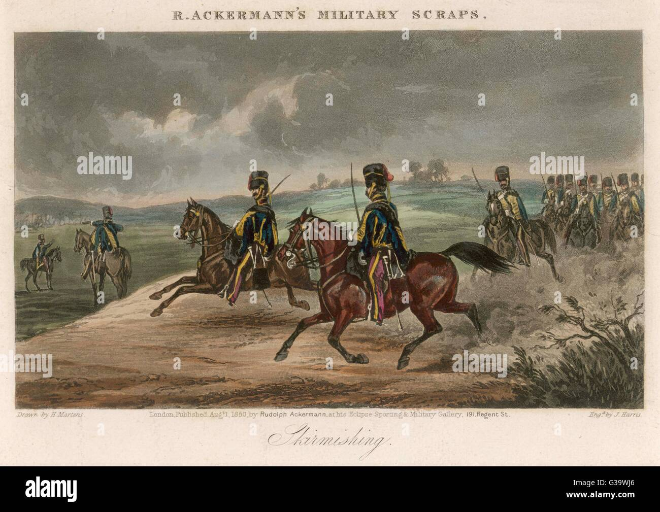 A British cavalry regiment  involved in a skirmish in open  country        Date: 1850 - Stock Image