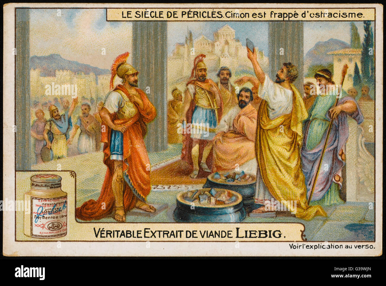 Cimon is ostracised by  democratic vote.         Date: 461 BC - Stock Image