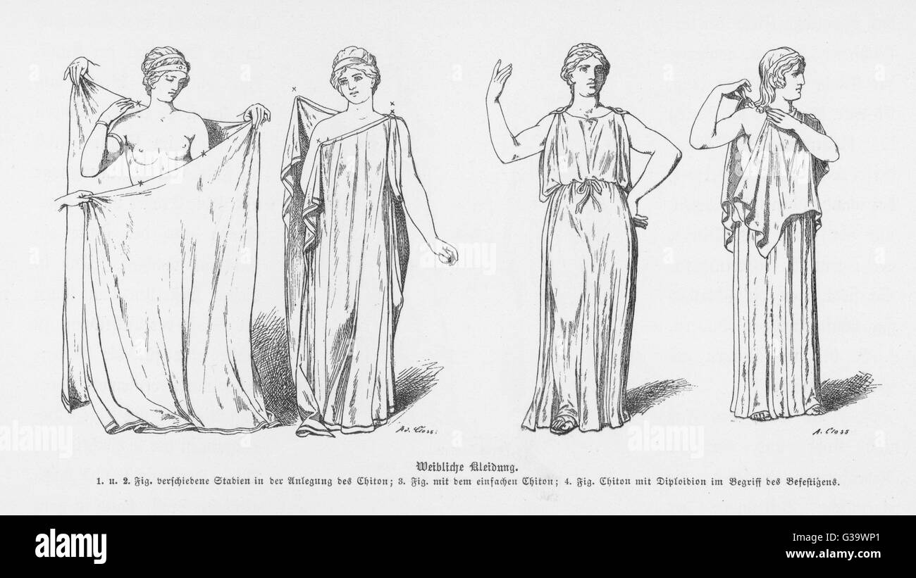 The procedure for putting on  the Greek toga, or 'Chiton'.         Date: circa 500 BC - Stock Image