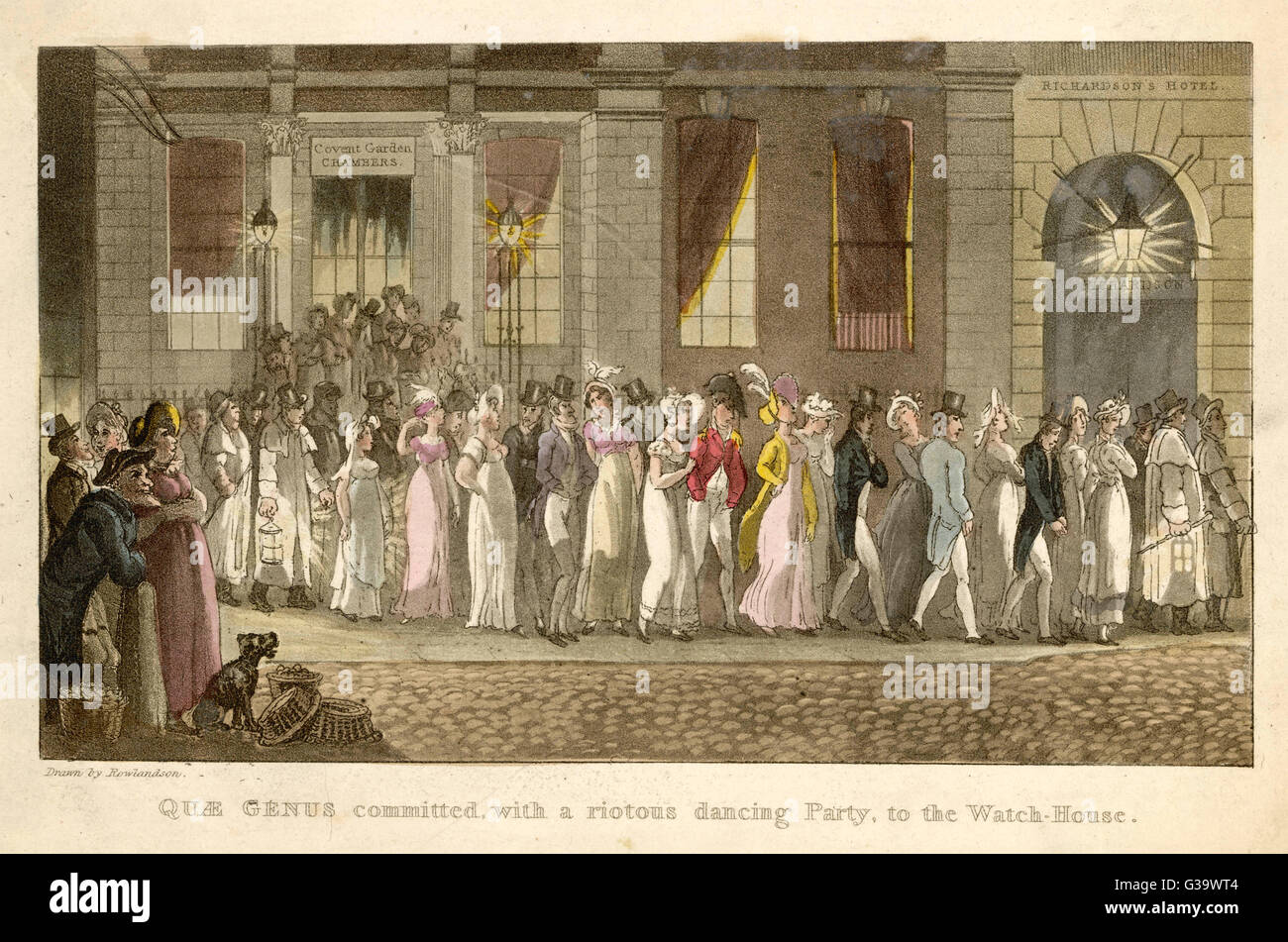 Quae Genus committed, with a  riotous dancing Party, to the  Watch-House.       Date: 1821 - Stock Image