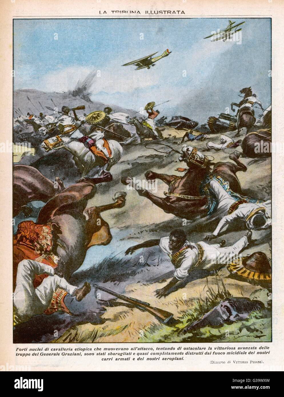 The Ethiopian cavalry is  attacked by Italian aircraft         Date: 1936 - Stock Image