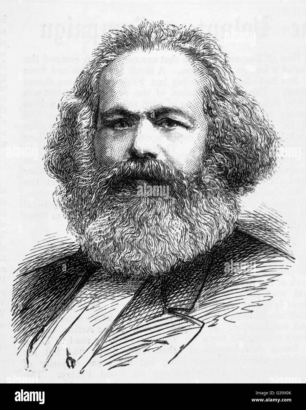 KARL MARX  German radical political  thinker       Date: 1819 - 1883 - Stock Image