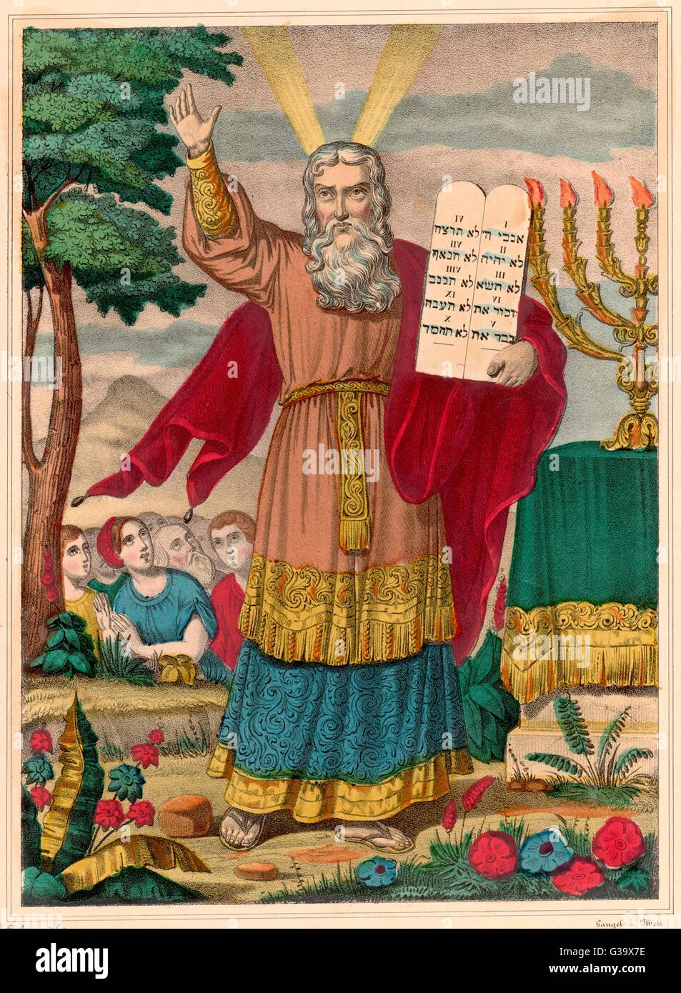 Moses, Hebrew prophet and lawgiver, with the Ten Commandments.     Date: 14-13th century BC - Stock Image