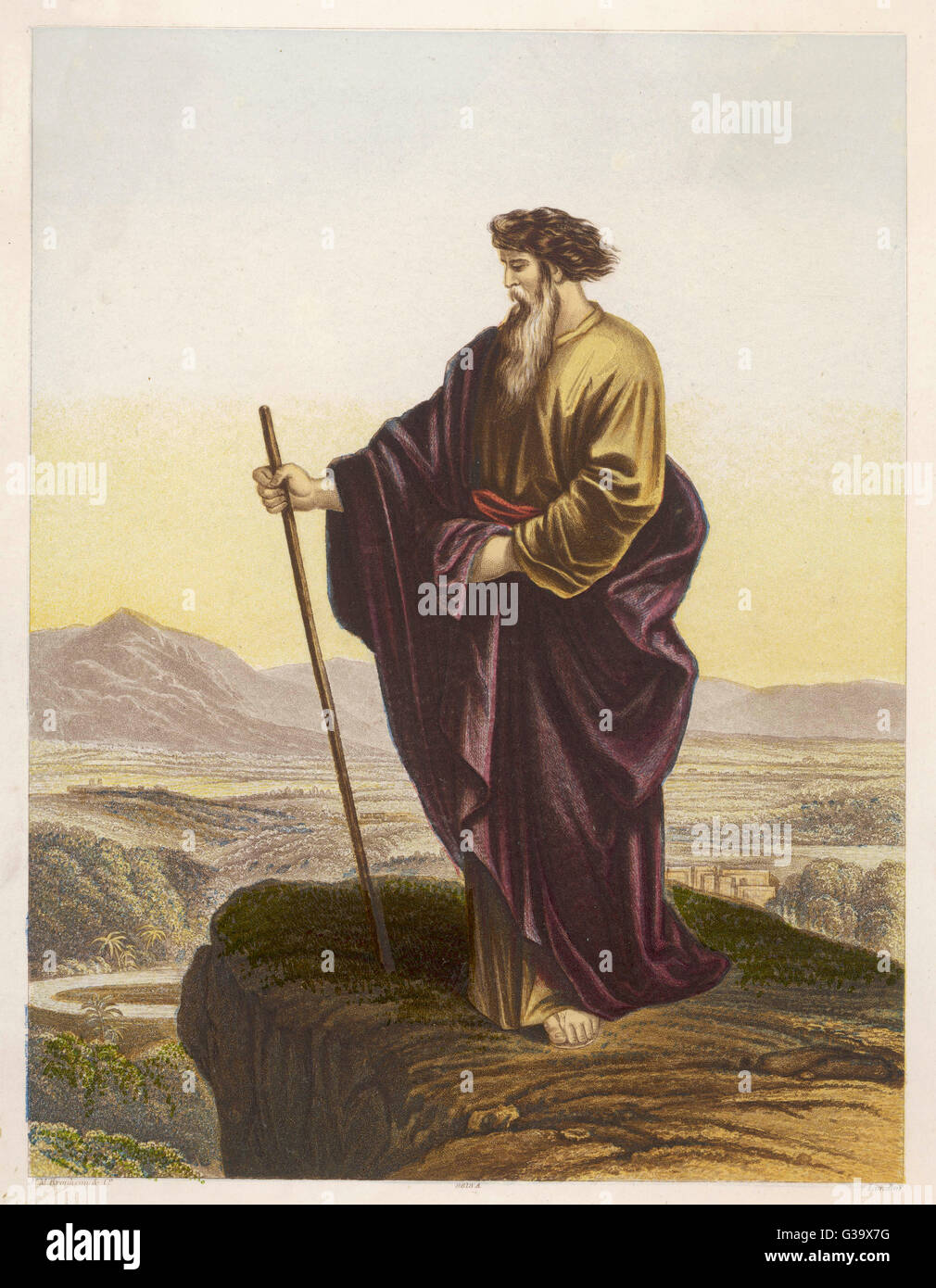 MOSES  Hebrew prophet and lawgiver  views the Promised Land  from Mount Nebo      Date: 14TH-13TH CENTURY BC - Stock Image