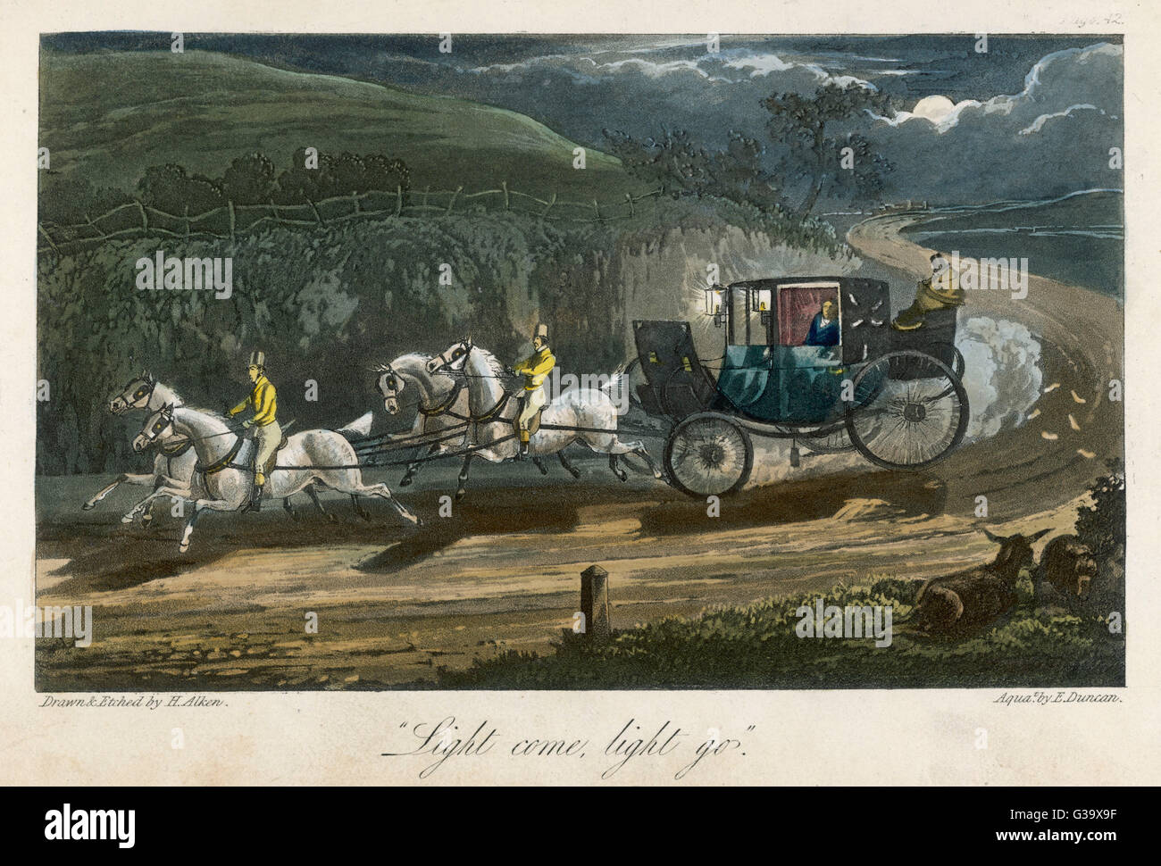 JOHN MYTTON  A coach and four white horses speed their passengers on his  journey through a moonlit  country road - Stock Image