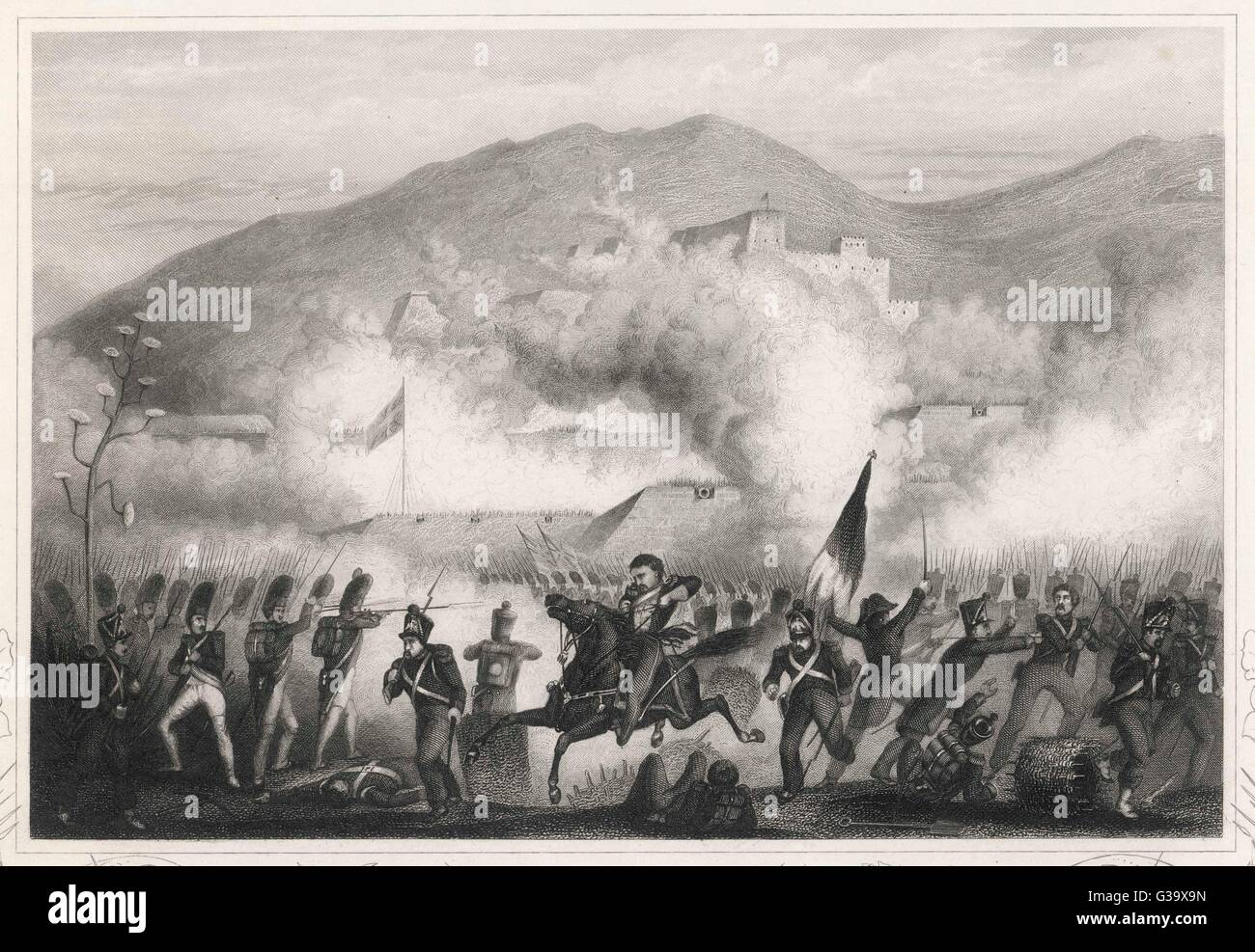 Wellington takes up a strong  position at TORRES VEDRAS, Portugal        Date: 10 October 1810 - Stock Image
