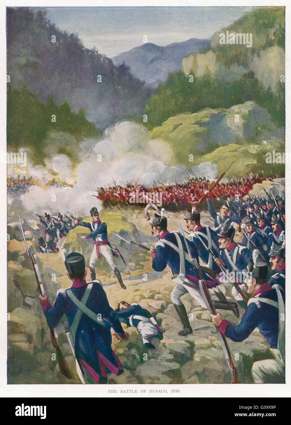 At the battle of BUSACO   Wellington's men defeat a  French army more than twice as  large, securing a safe - Stock Image