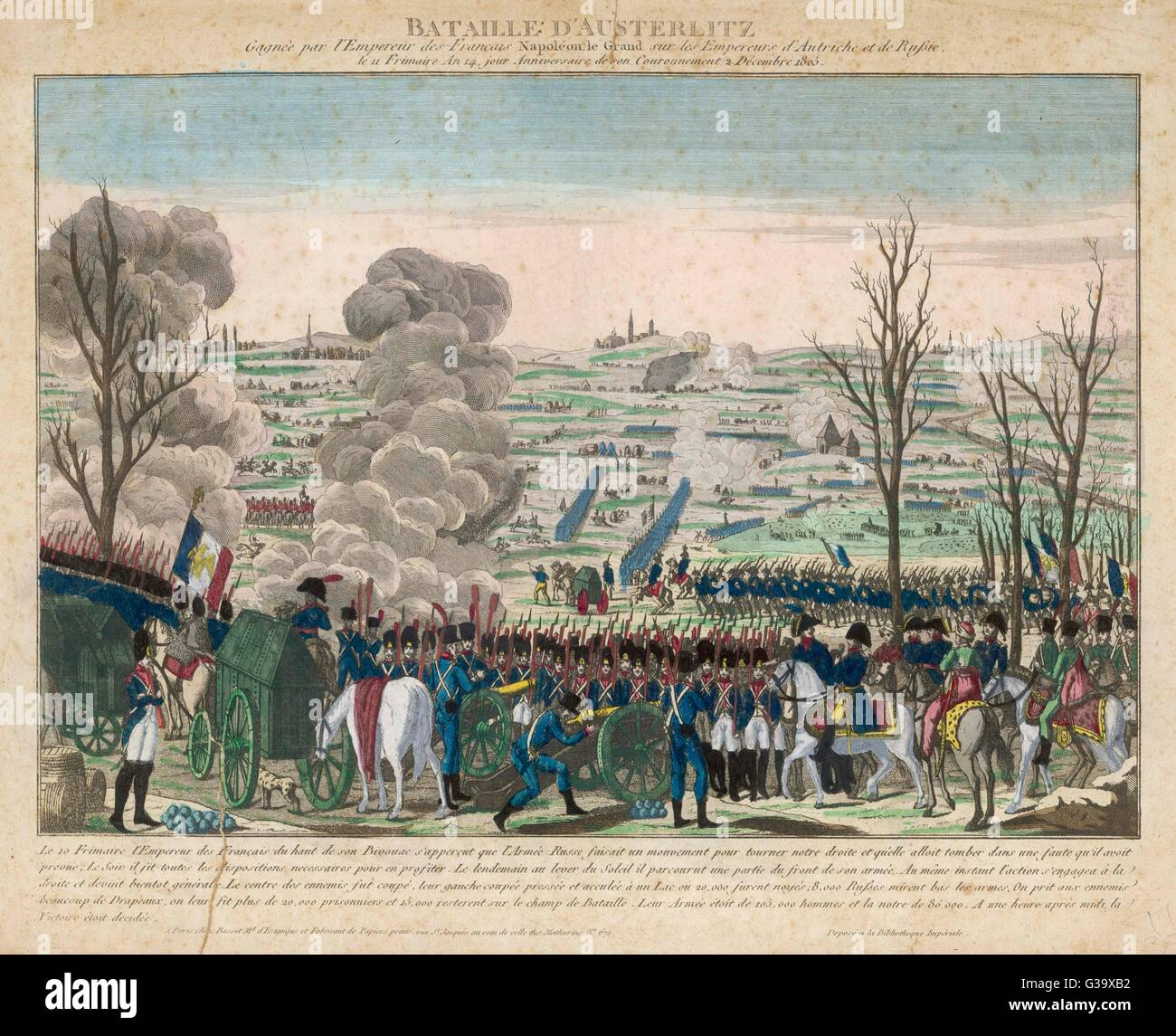 BATTLE OF AUSTERLITZ The emperors of Russia,  Austria and France are all  present at this massive  battle in which - Stock Image