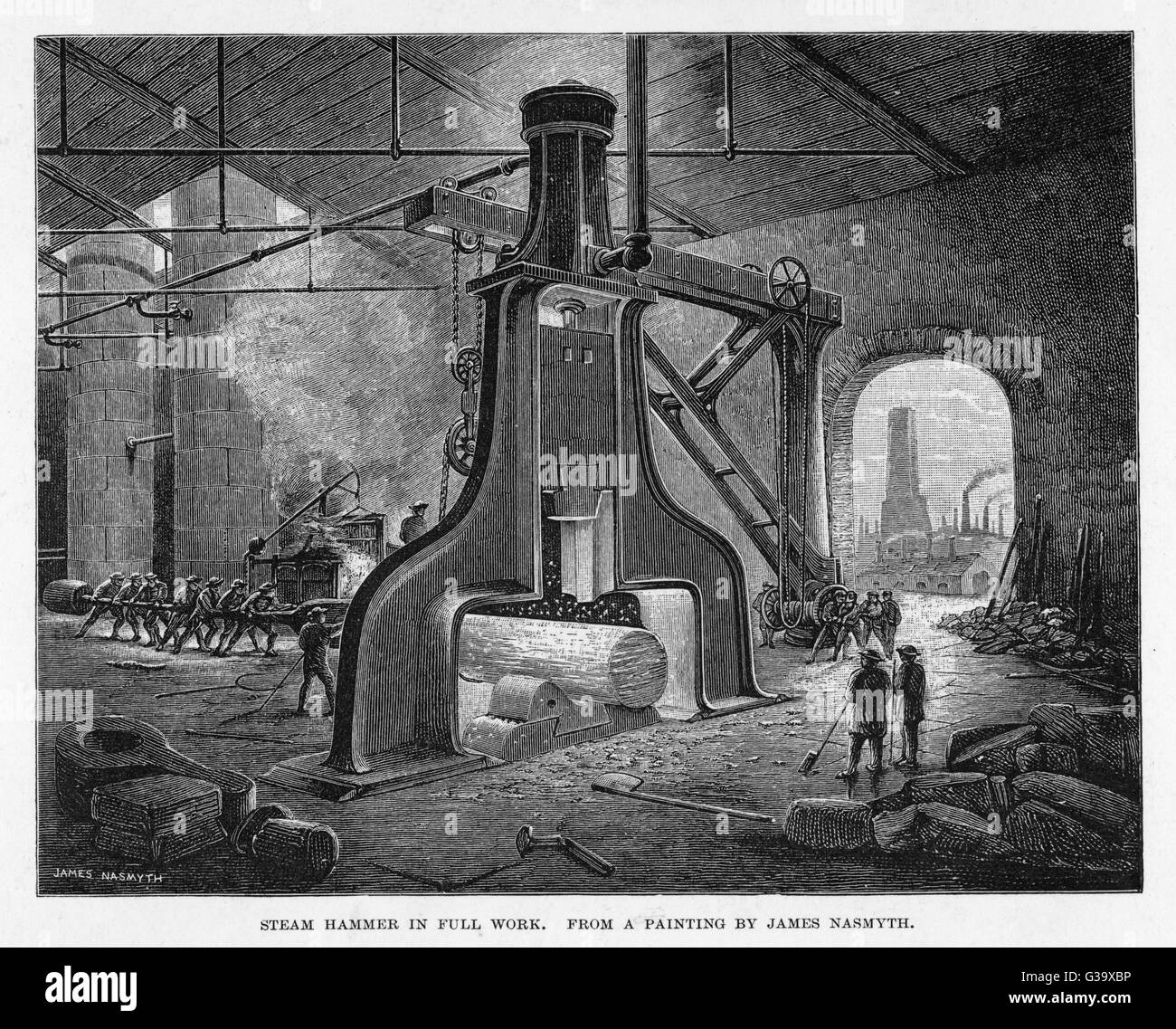 Interior of factory showing  Nasmyth's steam hammer in  action Stock Photo