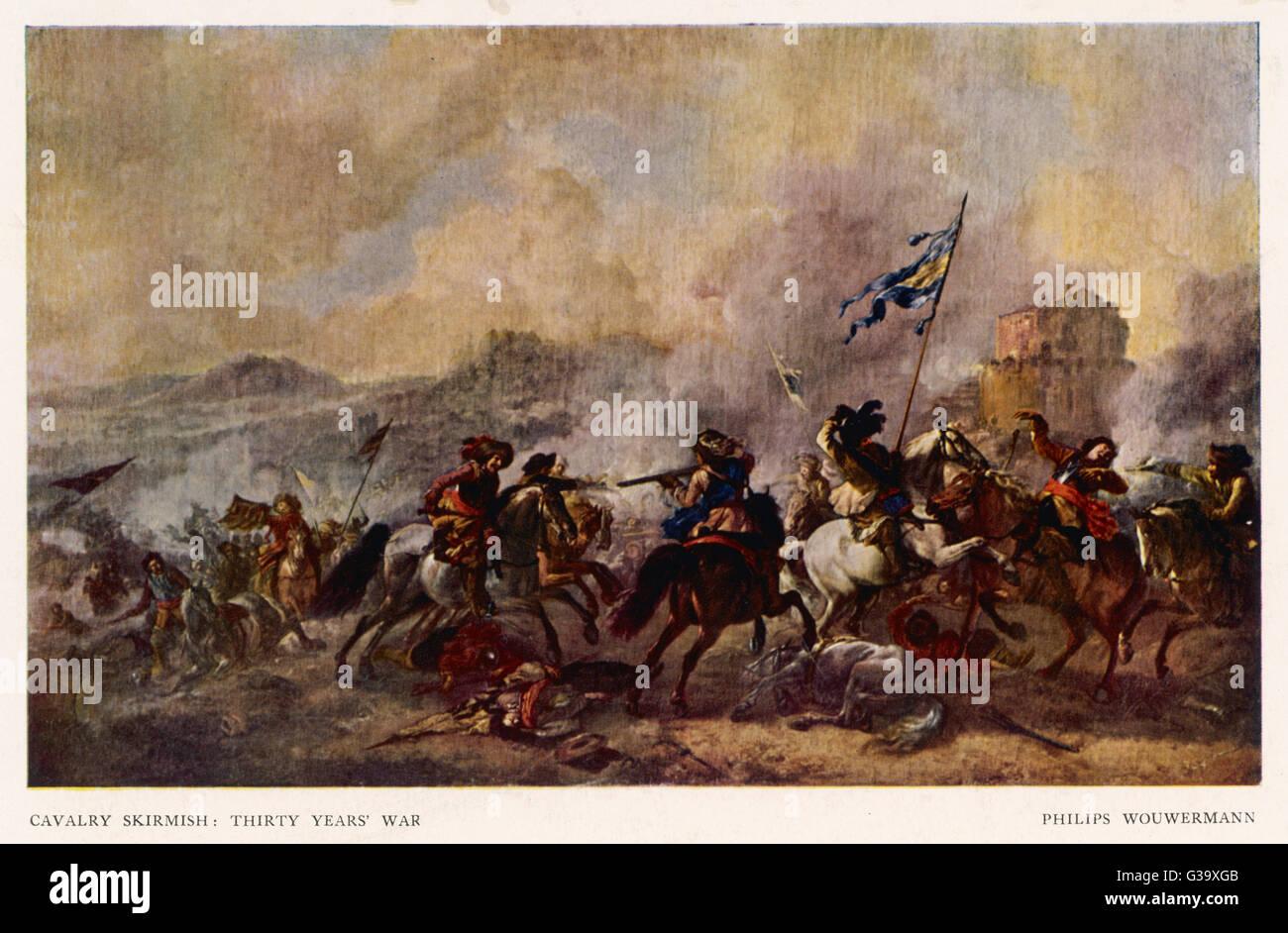General battle scene : a cavalry skirmish         Date: 1618 - 1648 - Stock Image
