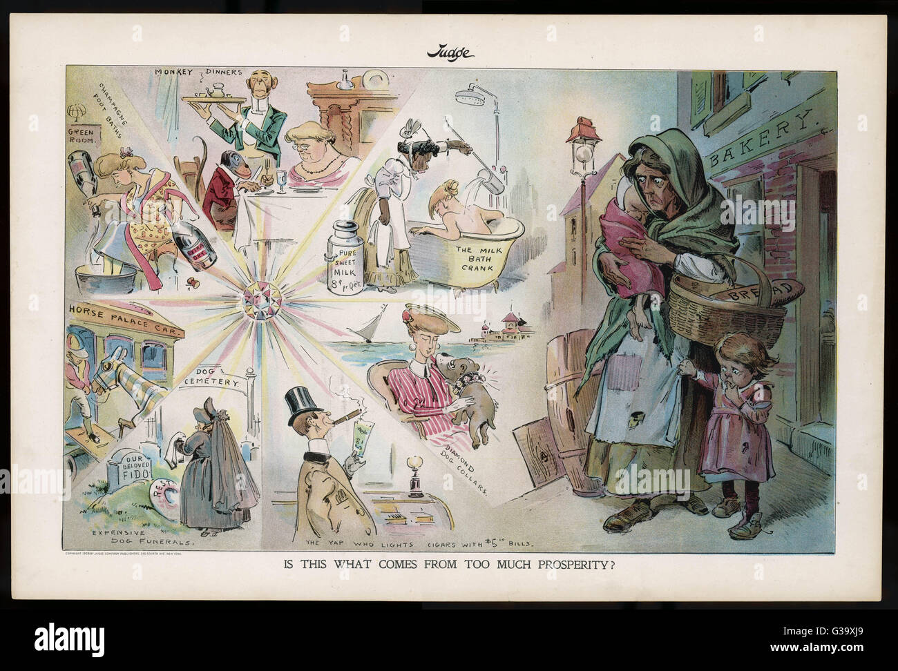 The result of too much  prosperity - conspicuous  consumption by the rich,  while the poor starve       Date: 1906 - Stock Image