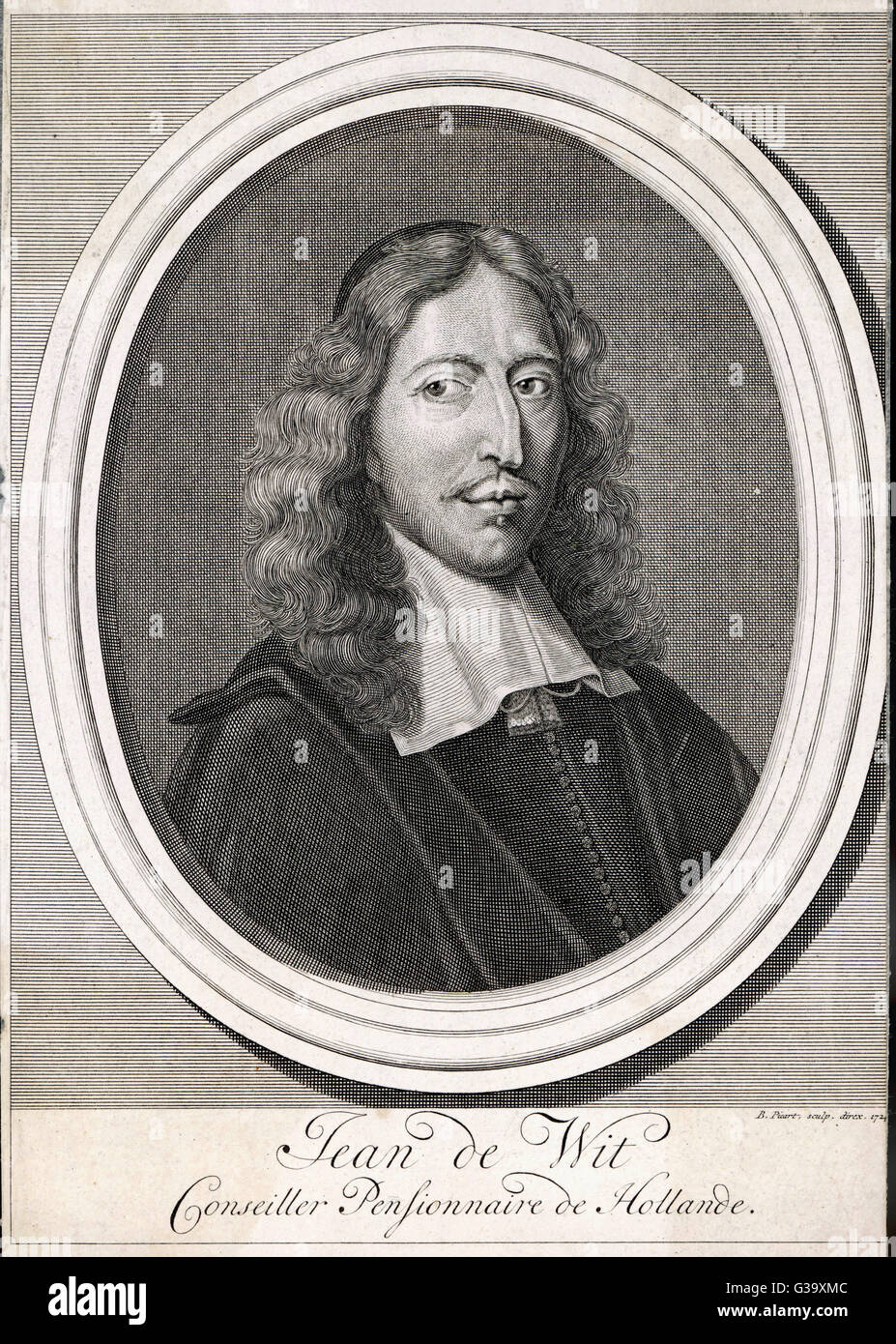JOHAN DE WITT Dutch statesman, Grand  Pensionary, killed by a mob        Date: 1625 - 1672 - Stock Image