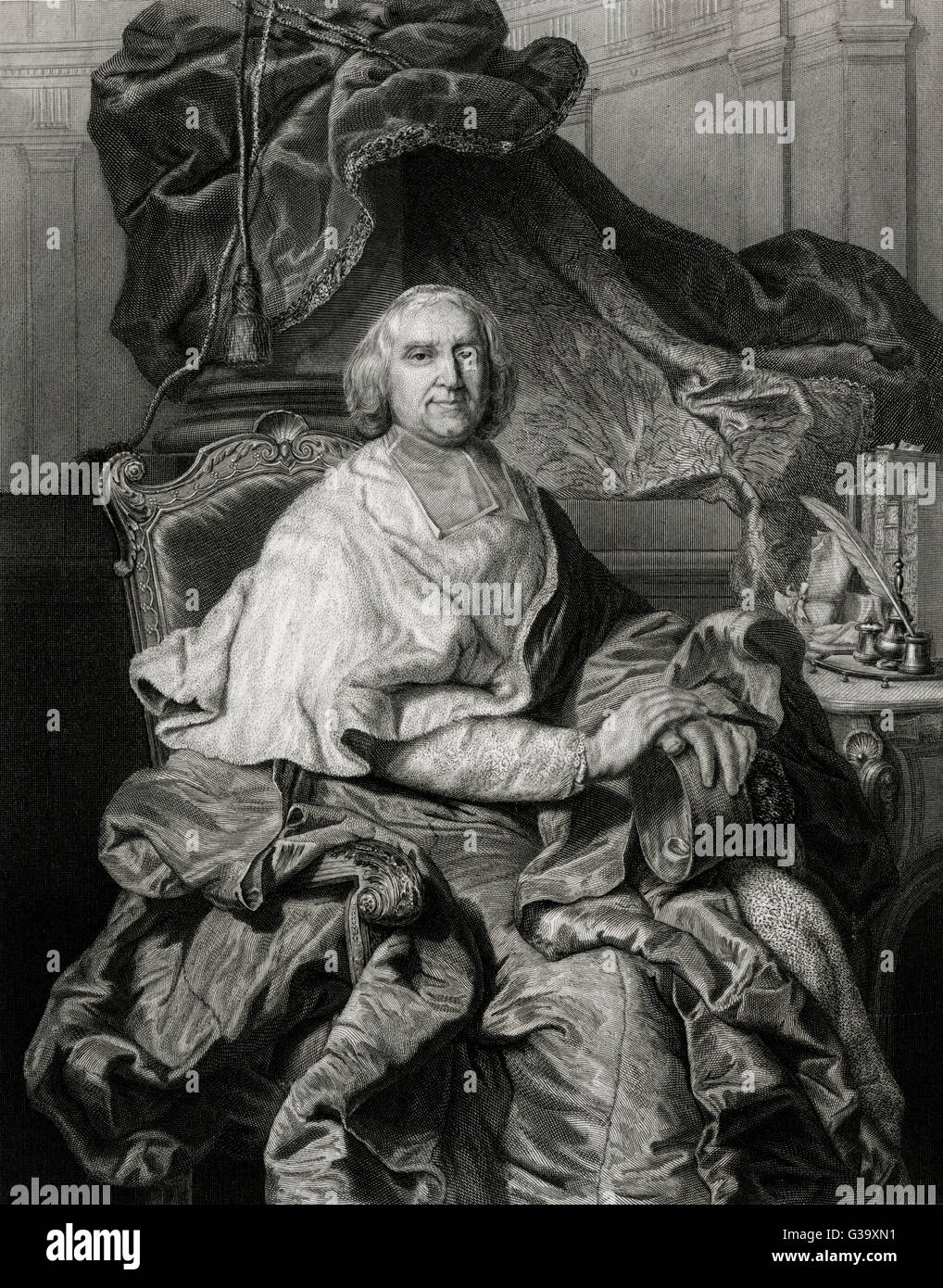 ANDRE HERCULE DE FLEURY  French divine and statesman.        Date: 1653 - 1743 - Stock Image