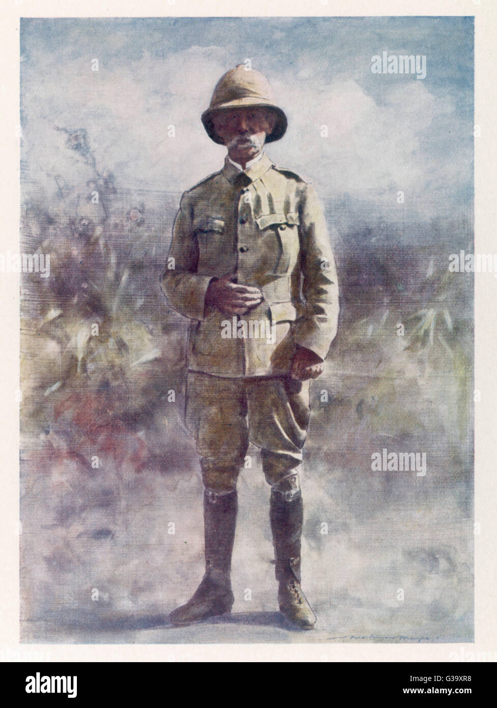 FREDERICK SLEIGH  1st EARL ROBERTS  British soldier watching  the Battle of Osfontein  during the Boer War     Date: - Stock Image