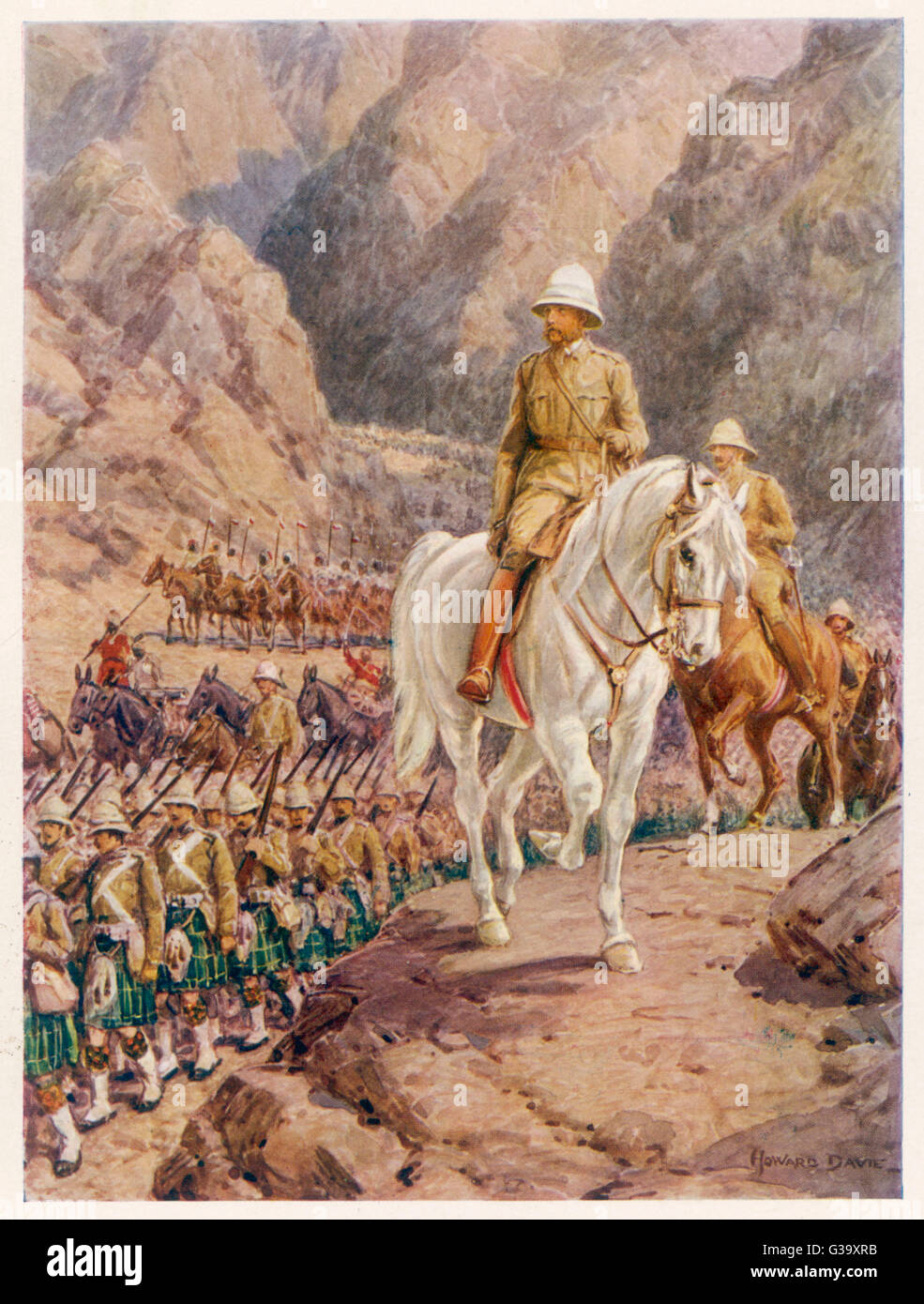 FREDERICK SLEIGH  1st EARL ROBERTS  British soldier on the march  to Kandahar in 1879 during  the Afghan conflict - Stock Image