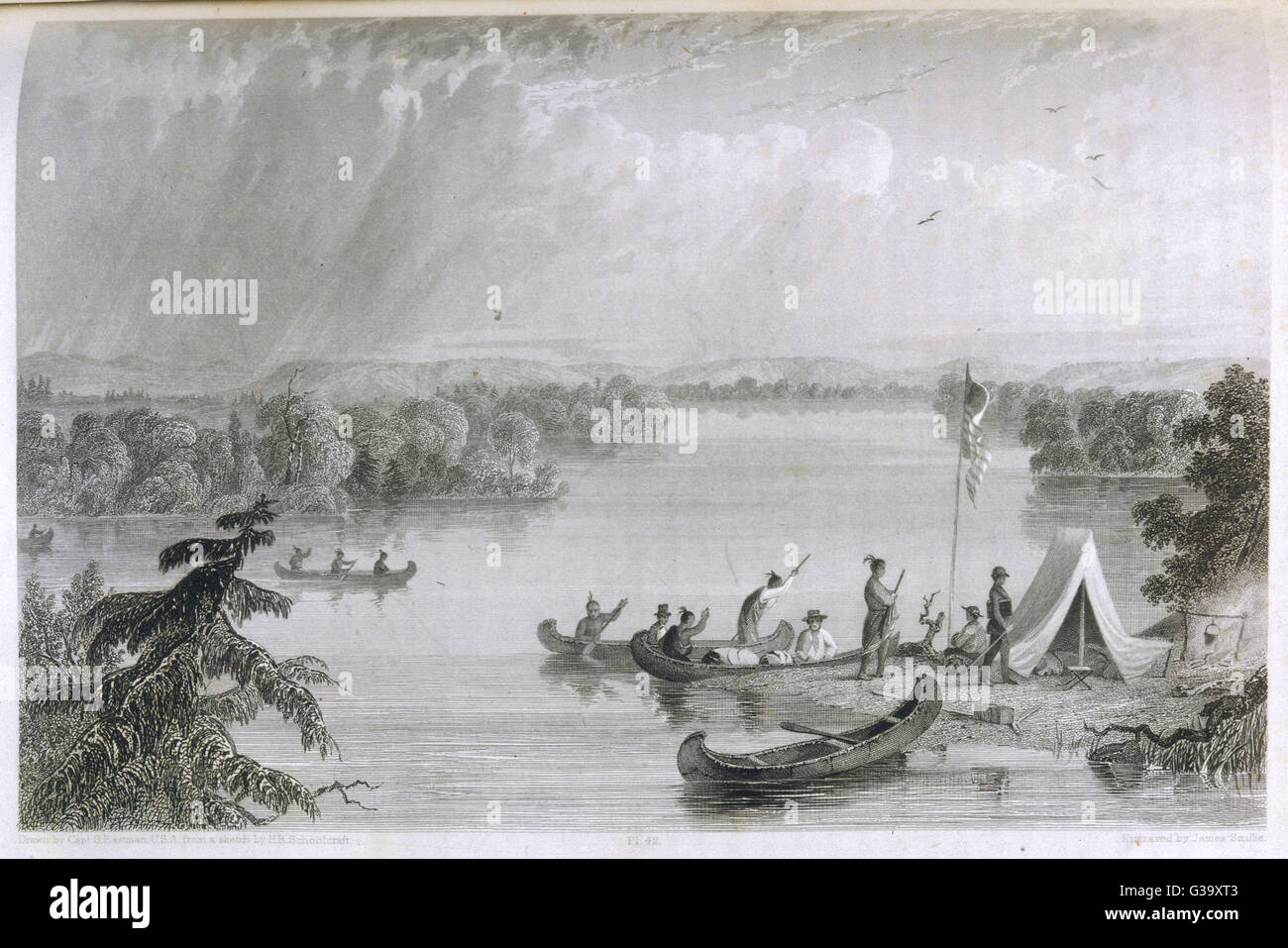 Henry Rowe Schoolcraft's  explorations of the upper  Mississippi river: native  Americans visit his camp at - Stock Image