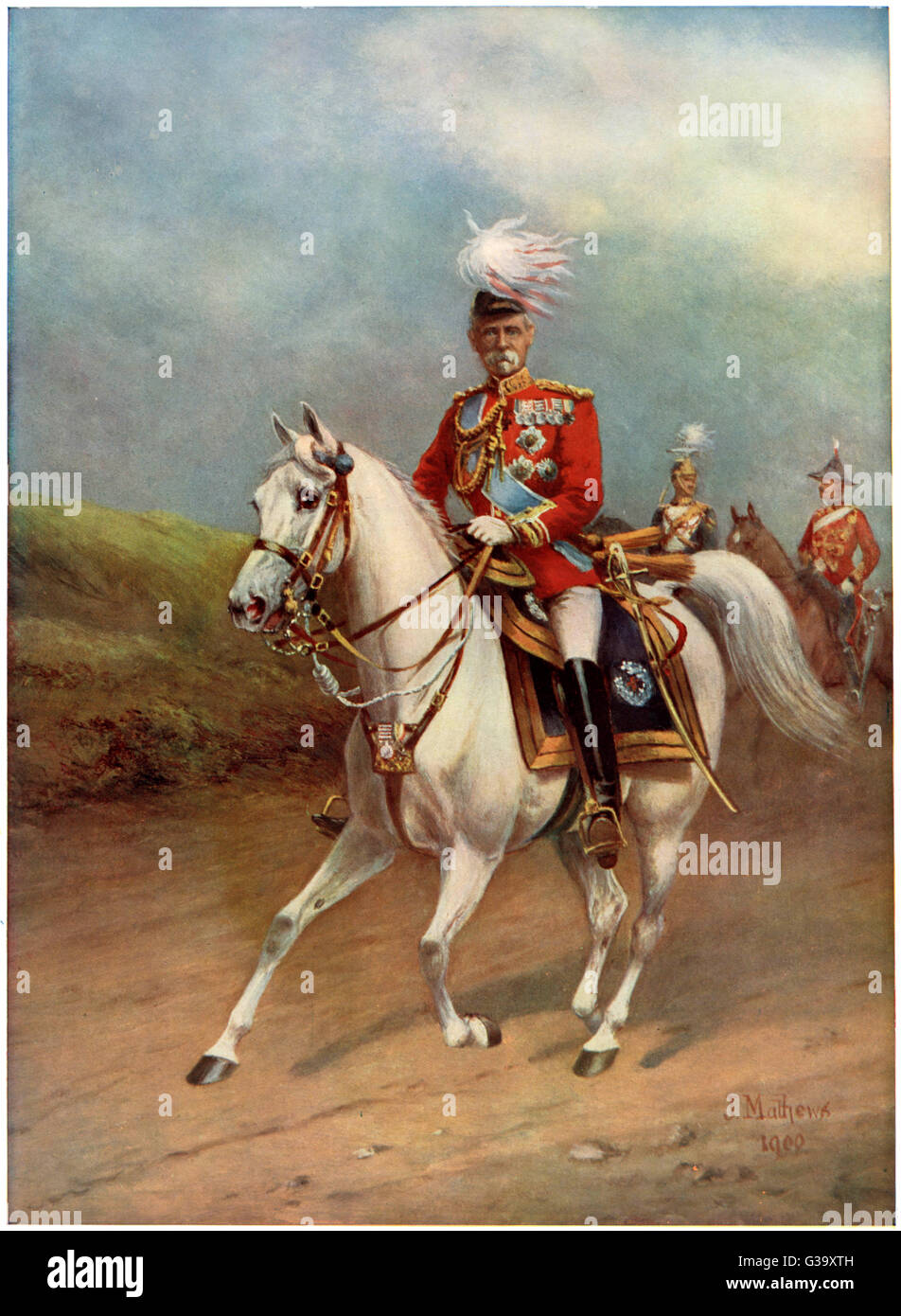 FREDERICK SLEIGH  1st EARL ROBERTS British soldier riding his  arab charger, Volonel, which he rode to Kandahar - Stock Image
