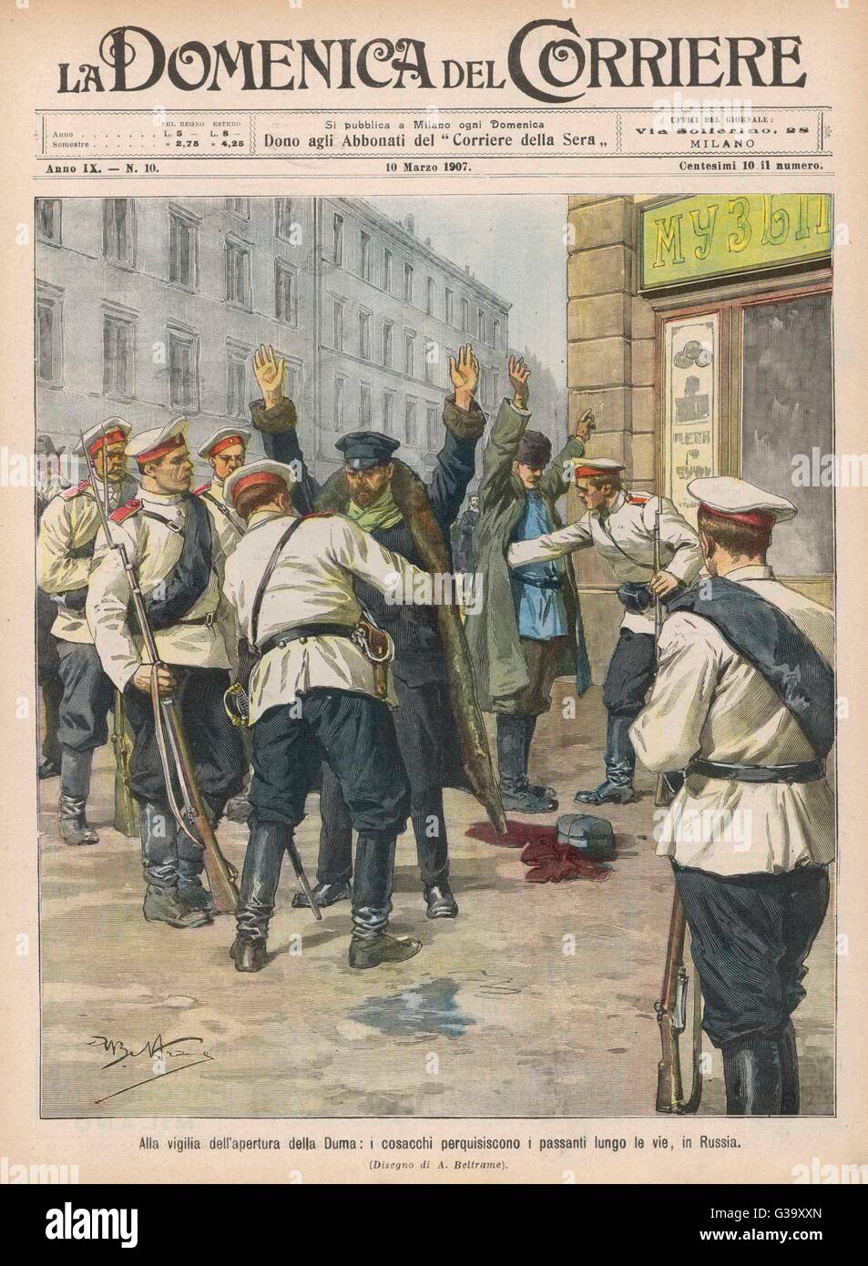 In St Petersburg, passers-by  are searched for bombs and  other weapons.        Date: 1907 - Stock Image