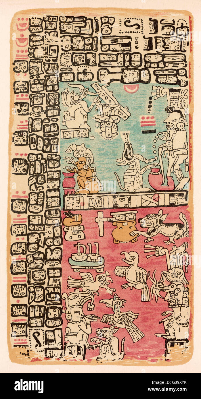 Part of a Calendar used by  Maya priests, depicting gods  and symbolic creatures Plate xx       Date: circa 1500 - Stock Image
