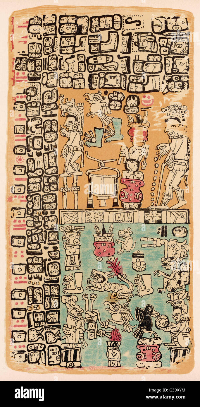 Part of a Calendar used by  Maya priests, depicting gods  and symbolic creatures Plate xxi       Date: circa 1500 - Stock Image