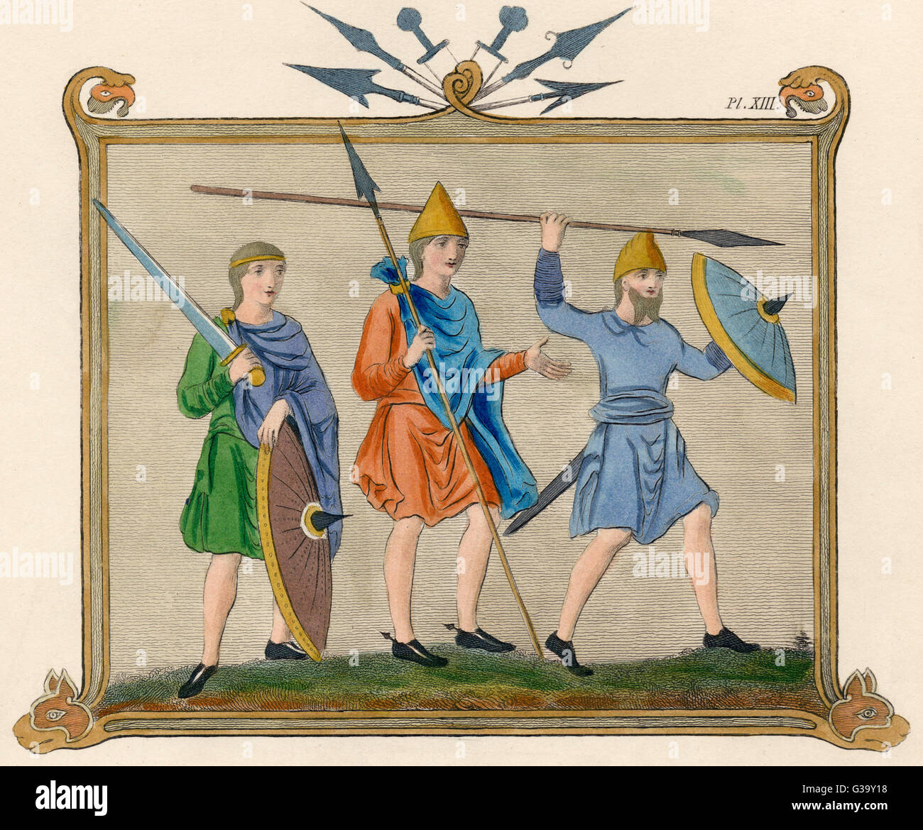 Saxon soldiers with spears,  broad swords and shields.        Date: 8th century - Stock Image