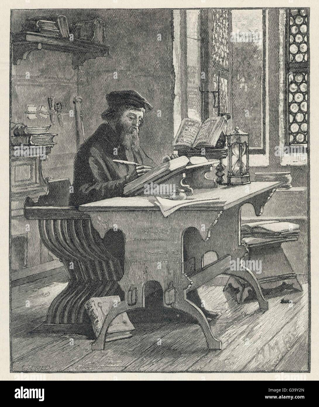 JOHN WYCLIF  religious reformer, depicted writing       Date: 1324 - 1384 - Stock Image