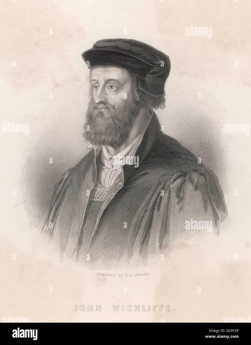 JOHN WYCLIF  religious reformer        Date: 1324 - 1384 - Stock Image