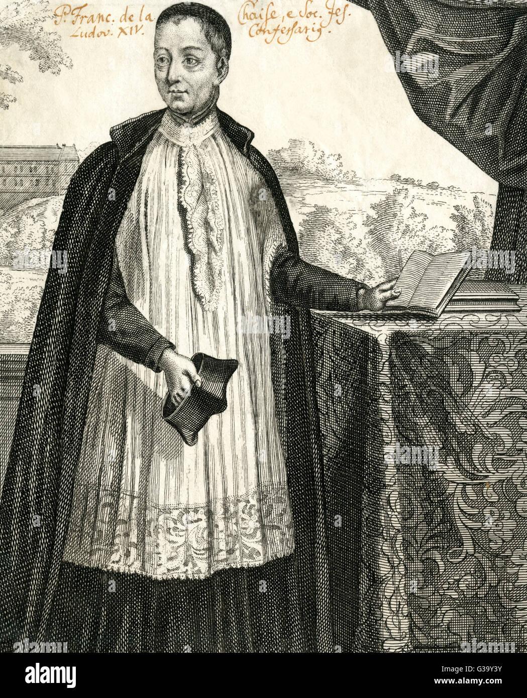 Francois d'Aix de LACHAISE  Influential French Jesuit  priest, confessor of Louis XIV       Date: 1624 - 1709 - Stock Image