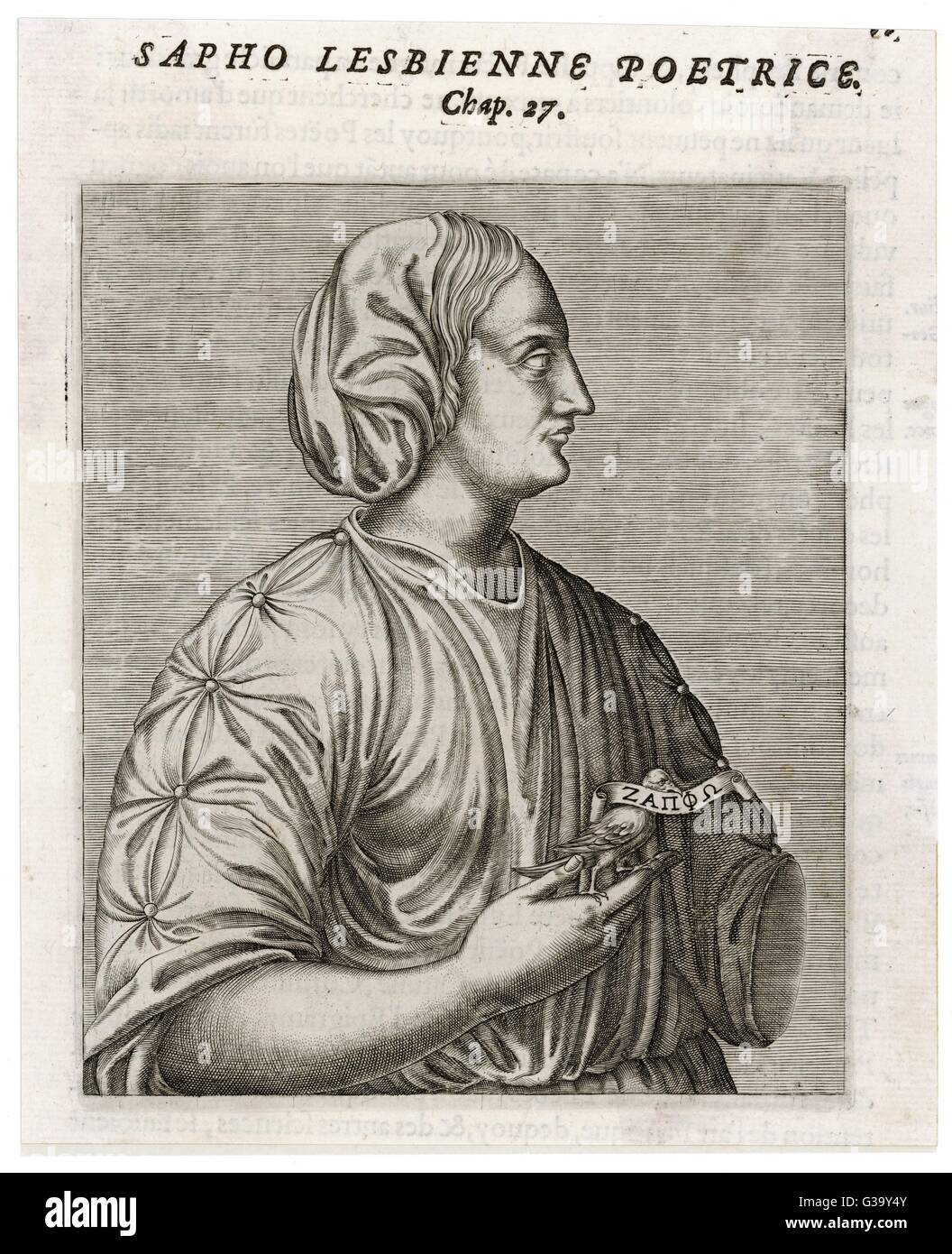 SAPPHO  Greek lyric poet  from Lesbos        Date: FL 610? - 580? - Stock Image