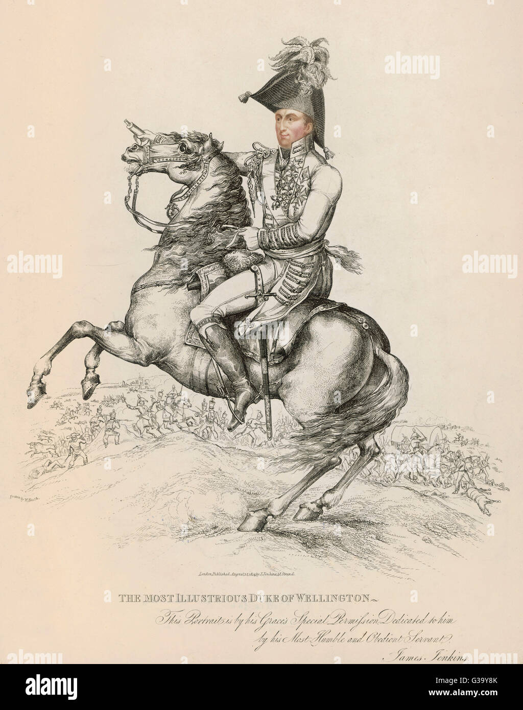 Arthur Wellesley, duke of  Wellington, soldier and  statesman, on horseback  in 1814       Date: 1769 - 1852 - Stock Image