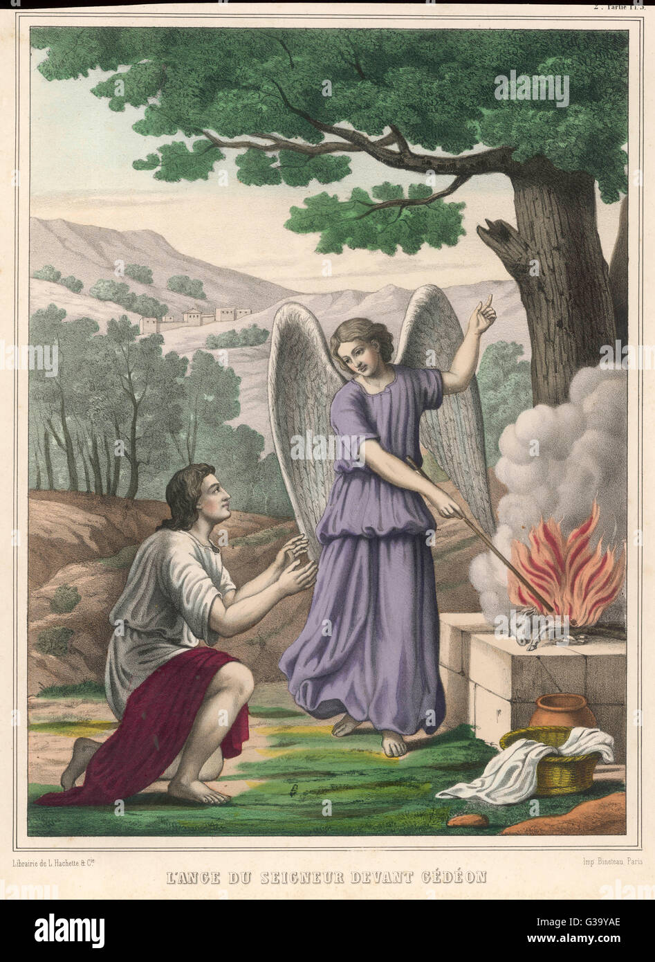 He asks God for a sign that he  will have heavenly support  against the Midianites : an  angel shows him a sacrificial - Stock Image