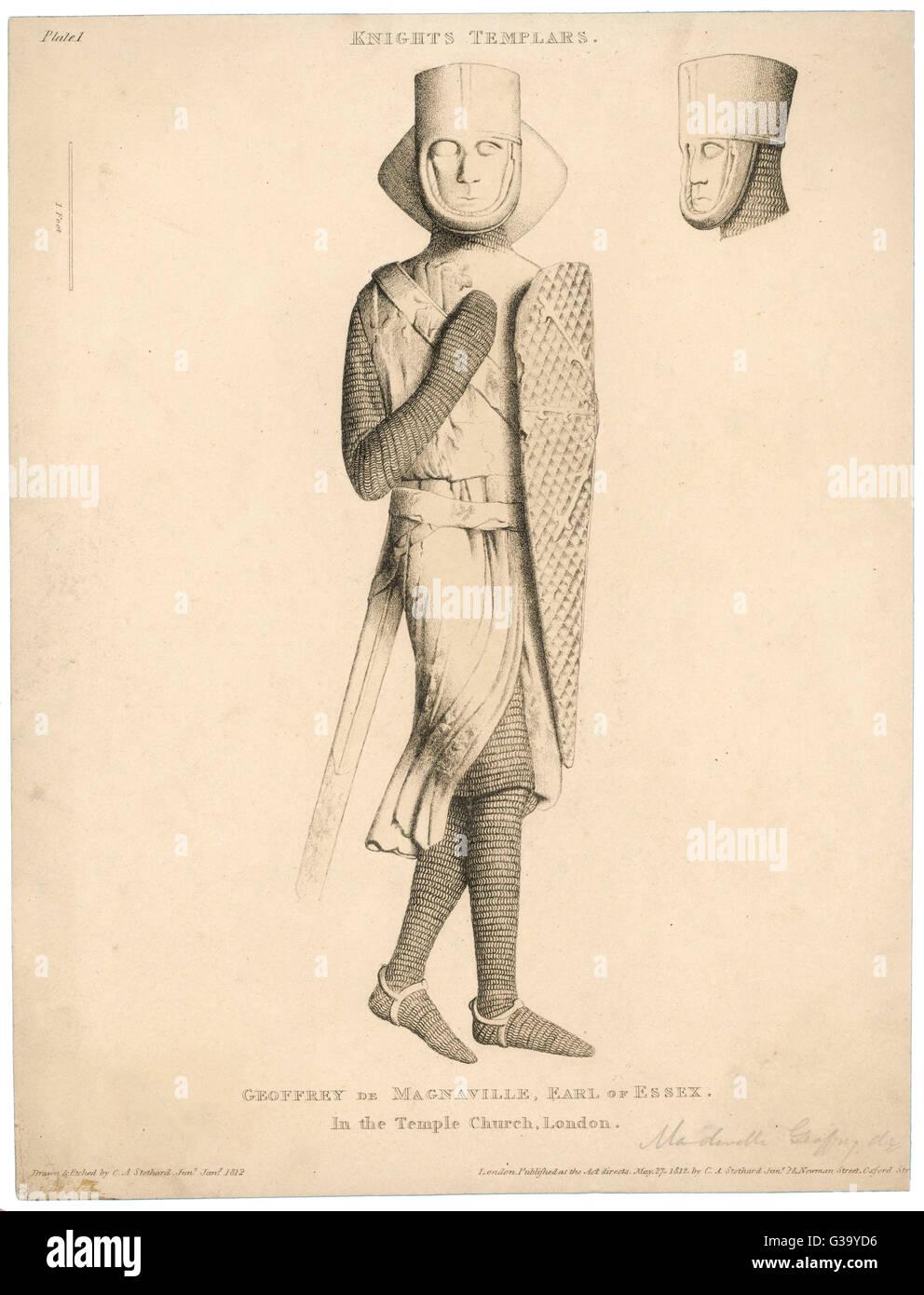A effigy of Geoffrey de  Magnaville Earl of Essex & Templar Knight. - Stock Image