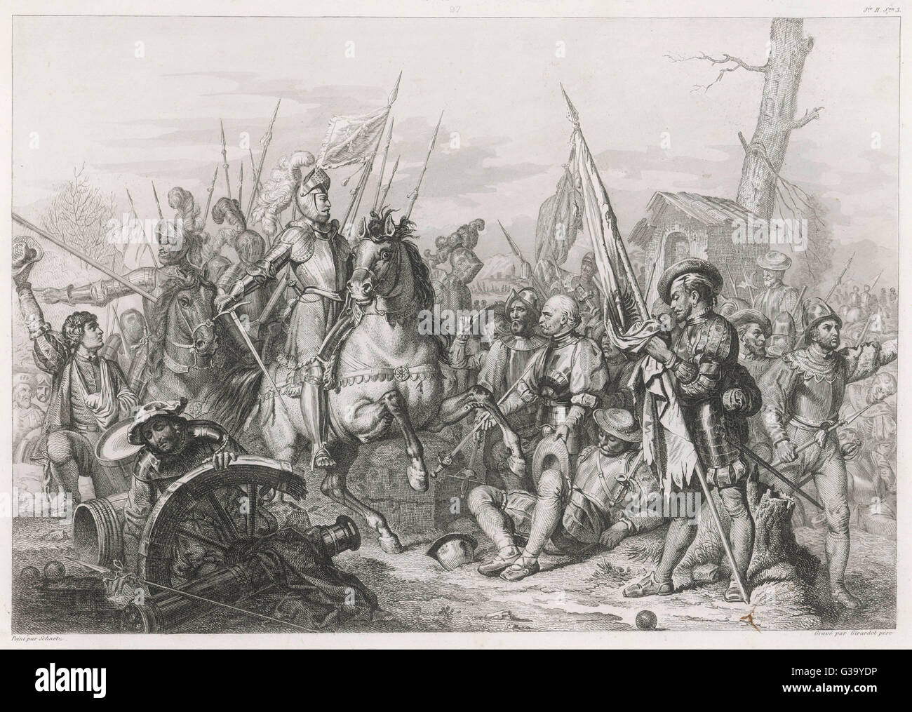 BATTLE OF CERESOLE (south of Torino) between the  Imperial army under du Gast  and the French under Francois  de - Stock Image