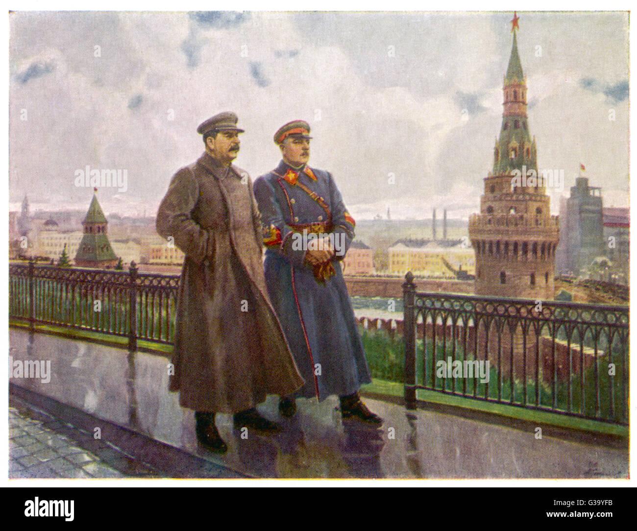 JOSEF STALIN  Soviet political leader (left) with Voroshilov at the Kremlin       Date: 1879-1953 - Stock Image