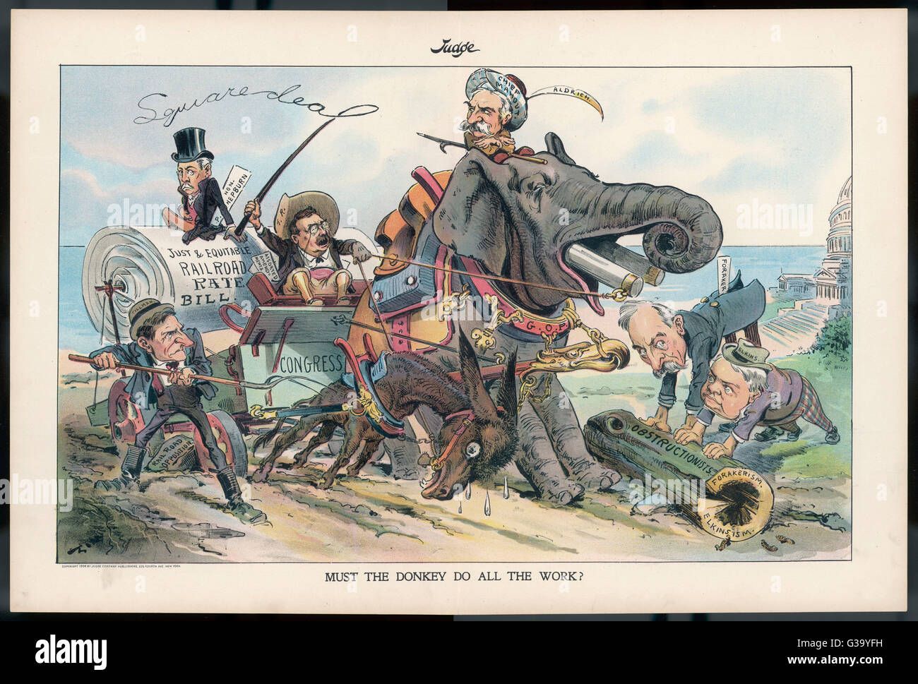 Satirical cartoon on  obstruction to the railroad  rate bill        Date: 1906 - Stock Image