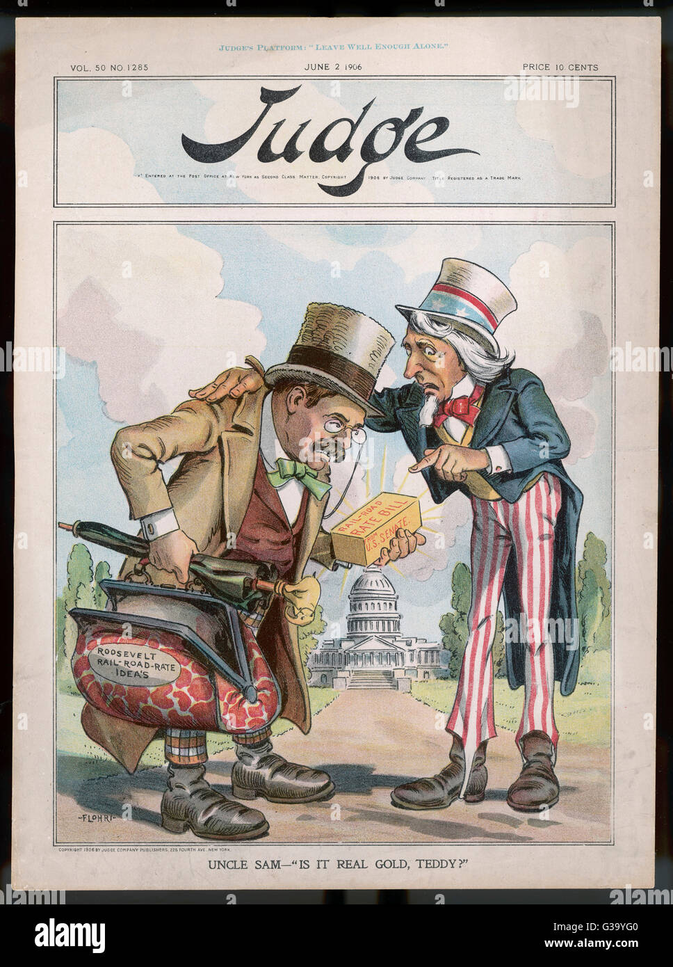 Satirical cartoon on Roosevelt  and the railroad rate bill         Date: 1906 - Stock Image