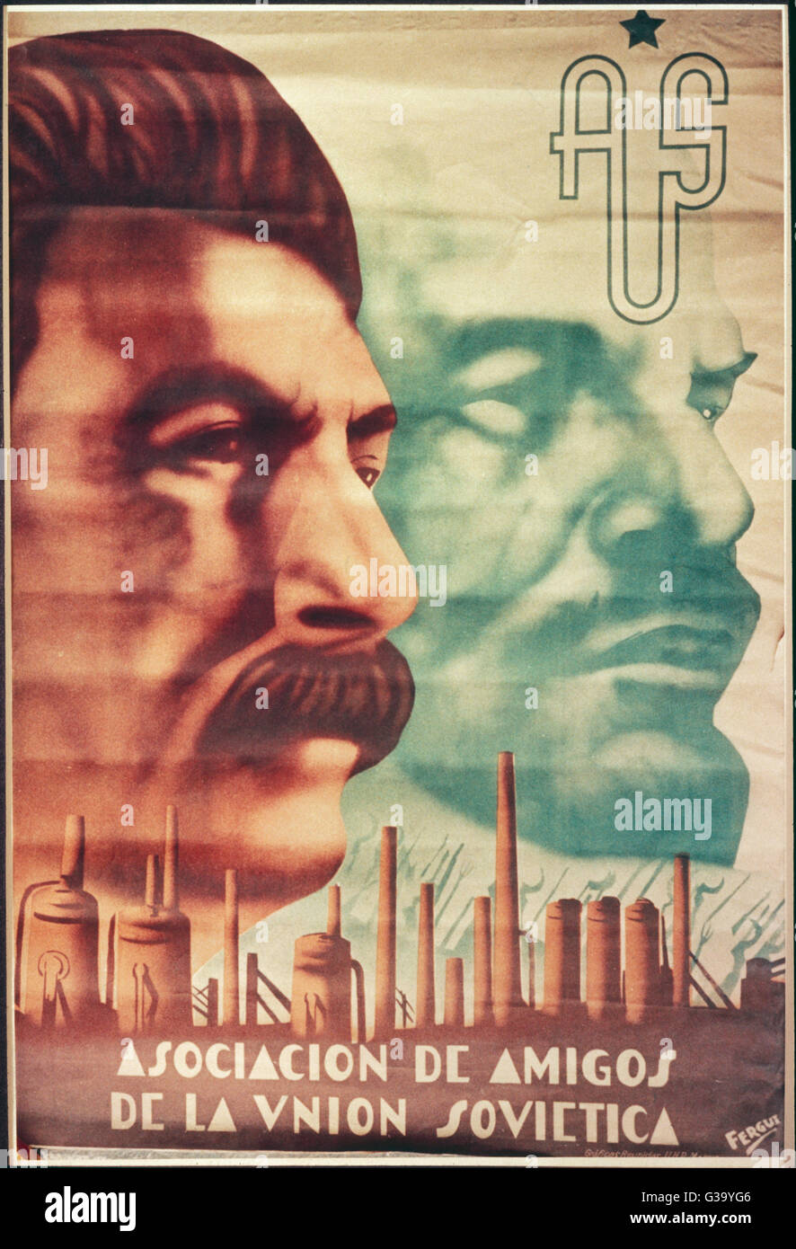 JOSEF STALIN  Soviet political leader,  with Lenin, on a poster of  the Spanish Association of  Friends of the Soviet - Stock Image