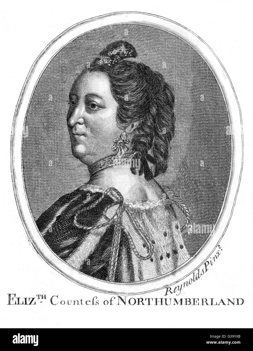 ELIZABETH DUCHESS OF  NORTHUMBERLAND Wife of Sir Hugh Percy  (Smithson) 1st Duke (3rd  creation) & granddaughter - Stock Image