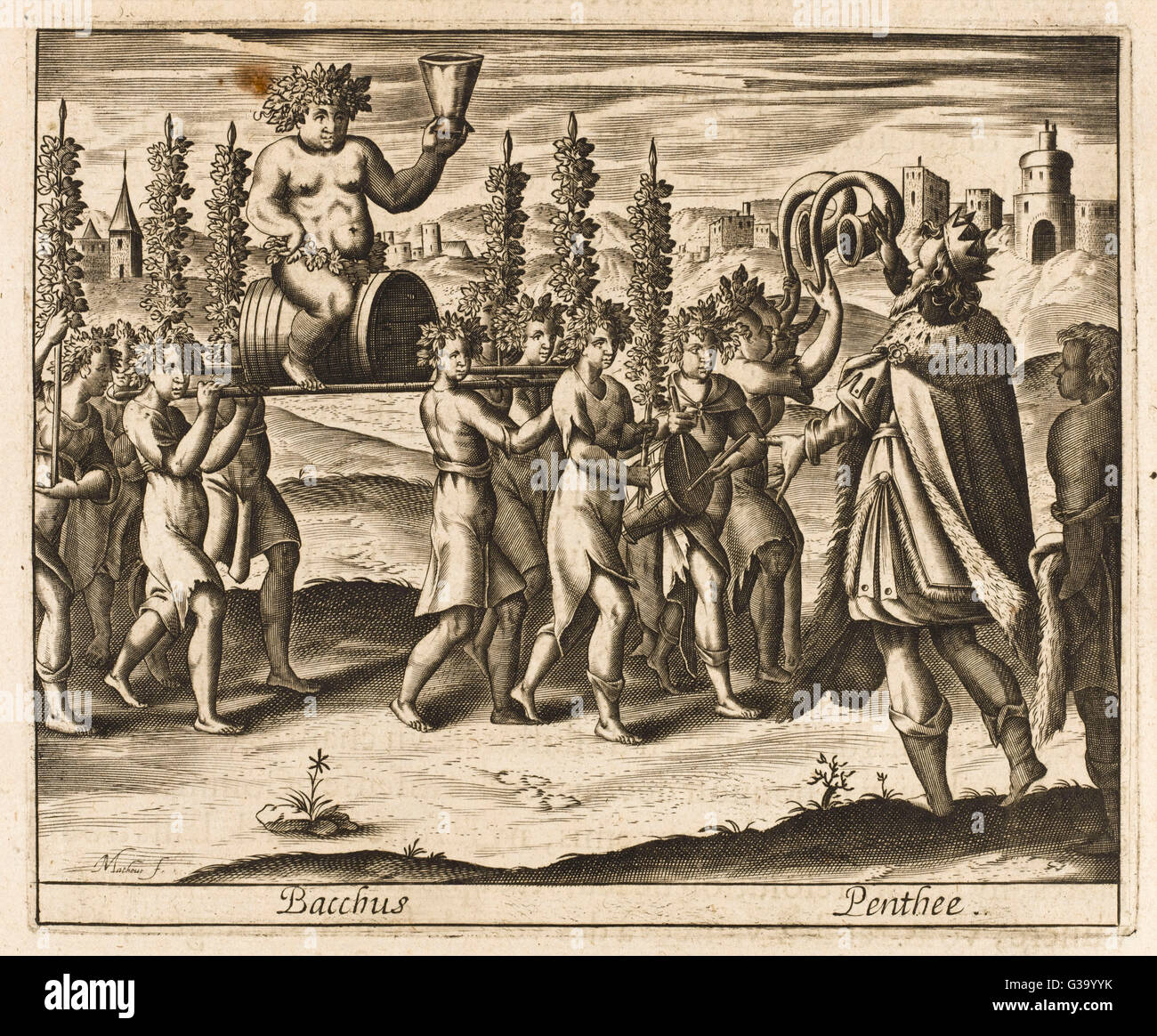 Pentheus, king of Thebes,  opposes the orgiastic cult of  Dionysos/Bacchus, but he is  torn to pieces by the god's - Stock Image